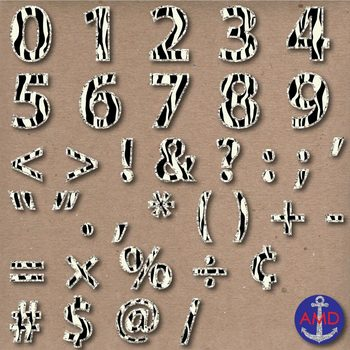 Zebra & Glitter Digital Alphabet & Numbers Clip Art Set- Letter Tiles