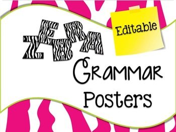 Zebra Grammar Posters Editable