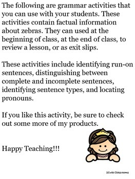 Run-On Sentences, Incomplete Sentences, Pronouns,& Sentence Types: Zebra Themed