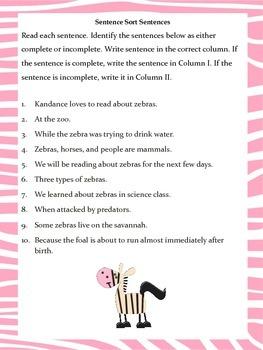 Run-On Sentences, Incomplete Sentences, Pronouns,& Sentence Types: Zebra Themed