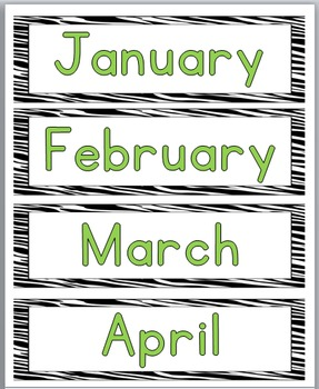 Zebra Theme Classroom Decor Days of the Week Labels & Months of Year Labels