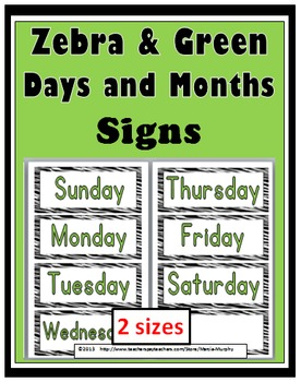 Zebra Theme with Green Days of the Week & Months of the Ye
