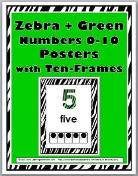 Zebra Theme Classroom Decor with Green - ten Frame Number Posters 1-10