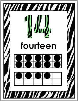 Zebra Theme Classroom Decor with Green - Ten Frame Number Posters 11-20