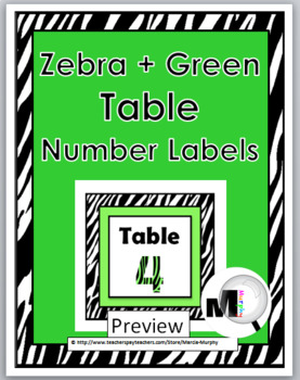 Zebra Theme Table Numbers