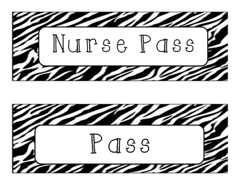 Zebra Hall Passes