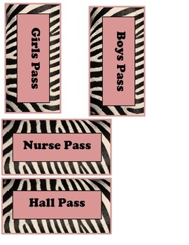 Zebra Hall Passes- Black, White & Pink