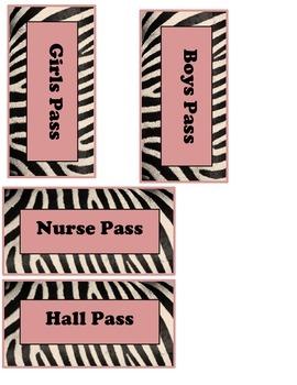 Zebra Hall Passes- Black, White & Pink