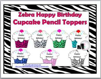 Zebra Theme Classroom Decor Happy Birthday Cupcake Pencil Toppers / Badges