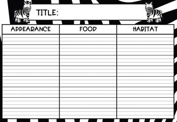 Zebra Information Report Writing Activity