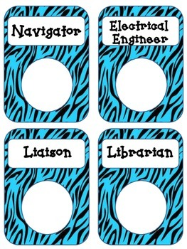 *Animal Print Zebra Job Chart Pockets