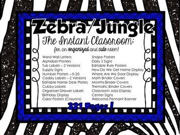 Zebra /Jungle Decor - The Instant Classroom