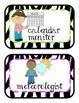 Zebra Jungle Jobs, Bulletin Board Set, over 30 jobs, neon pink and green too!