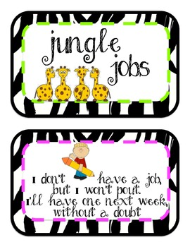 Zebra Jungle Jobs, Bulletin Board Set, over 30 jobs, neon pink and green too!