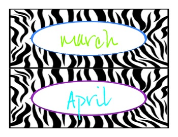 Zebra Jungle Months of the Year (FREE)