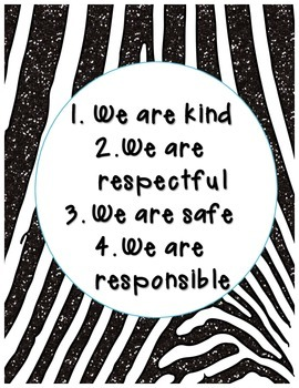 Zebra Jungle Morning Meeting Rules, Class Motto, and Class Rules Posters Signs