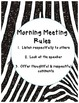 Zebra Jungle Morning Meeting Rules, Class Motto, and Class