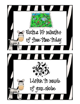 Zebra Jungle Safari Large Student Reward Coupons (15)