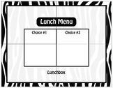 Zebra Jungle Safari Lunch Menu / Dry Erase / Elementary Cl