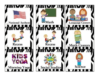 Zebra Jungle Schedule/Timetable cards, with pictures