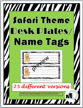 Jungle Theme Classroom Decor Desk Plates / Name Labels