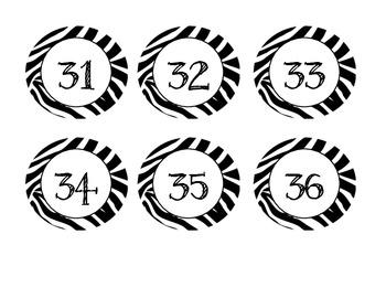 Zebra Jungle Themed Numbers 1-100 (Calendar)