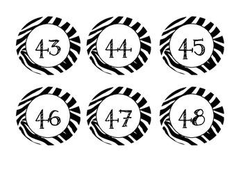 Zebra Jungle Themed Numbers 1-100 (Calendar)