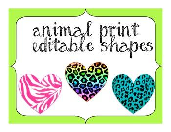 Zebra Jungle Themed labels and shapes (safari) EDITABLE