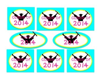 Zebra Kindergarten Graduation Labels, Cupcake toppers, Decorations