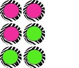 Zebra Labels - Pink & Green