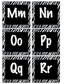 Zebra Letters & Numbers