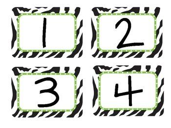 Zebra & Lime Green Theme Numbers 1 through 40