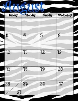 Zebra Lime Green and Blue Calendar July 2014 - July 2015