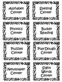 Zebra Literacy and Math Center Labels