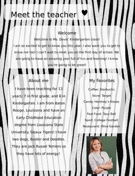 Zebra Meet The Teacher Template **Editable**