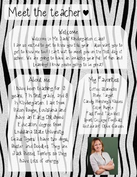 Zebra Meet The Teacher Template **Editable**