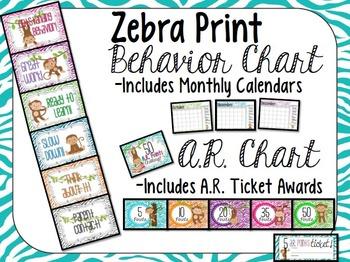 Zebra Monkey Behavior Clip Chart, AR Challenge, Behavior Log