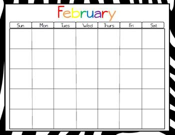 Zebra Monthly Calendars