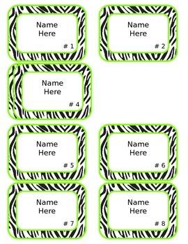 Zebra Name Tags - Editable