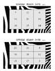Zebra Number Bingo 1-10 and 1-20