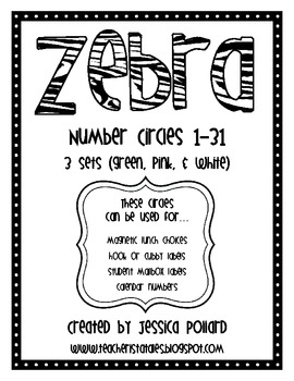 Zebra Number Circles {Freebie}