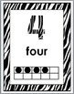 Zebra Theme Number Posters 1-10 with Ten Frames (B+W Set)