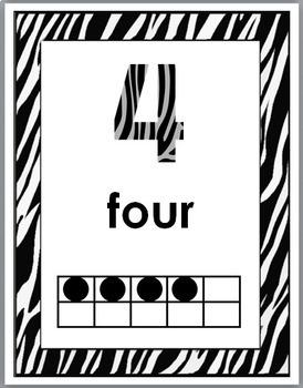 Zebra Theme Classroom Decor Ten Frame Number Posters 1-10  (B+W Set)