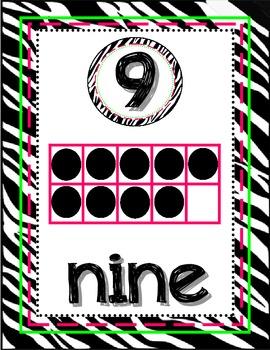 Zebra Number Posters 1-20 Number, Number Word & 10 Frame