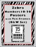 Zebra Theme Classroom Decor Ten Frame Number Posters 11-20