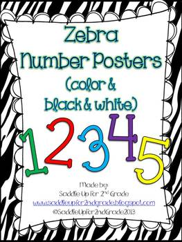 Zebra Number Posters: Color and Black & White