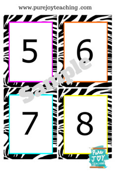Zebra Numbers Cards 0-10 Posters