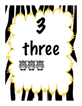Zebra Numbers 1-10 with pictures, words and arrays (5 different styles included)