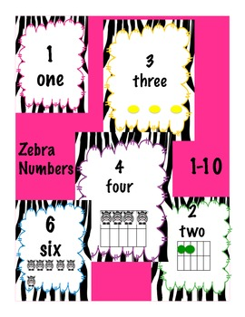 Zebra Numbers 1-10 with pictures, words and arrays (5 diff