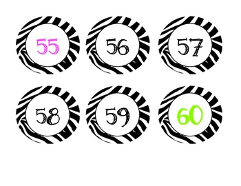 Zebra Numbers 1-100, Counting by 5's and 10's (Calendar)